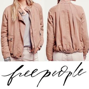 Free People Slouchy Drawstring Linen Bomber Jacket